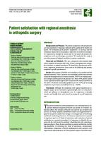 prikaz prve stranice dokumenta Patient Satisfaction with Regional Anesthesia in Orthopedic Surgery