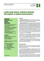 Lumbar Spinal Stenosis: Methods of Treatment with Emphasis on Epidural Steroid Injections