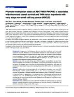 prikaz prve stranice dokumenta Promoter Methylation Status of ASC/TMS1/PYCARD is Associated with Decreased Overall Survival and TNM Status in Patients with Early Stage Non-small Cell Lung Cancer (NSCLC).
