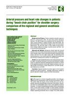 "prikaz prve stranice dokumenta Arterial Pressure and Heart rate Changes in Patients During ""Beach Chair Position"" for Shoulder Surgery: Comparison of the Regional and General Anesthesia Techniques"
